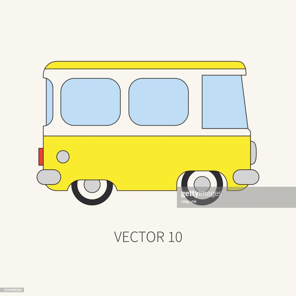 Line flat vector color icon minibus taxi car. Commercial vehicle. Cartoon vintage style. Transportation. Traveling family van. Trip over long distance. Road. Illustration and element for your design.