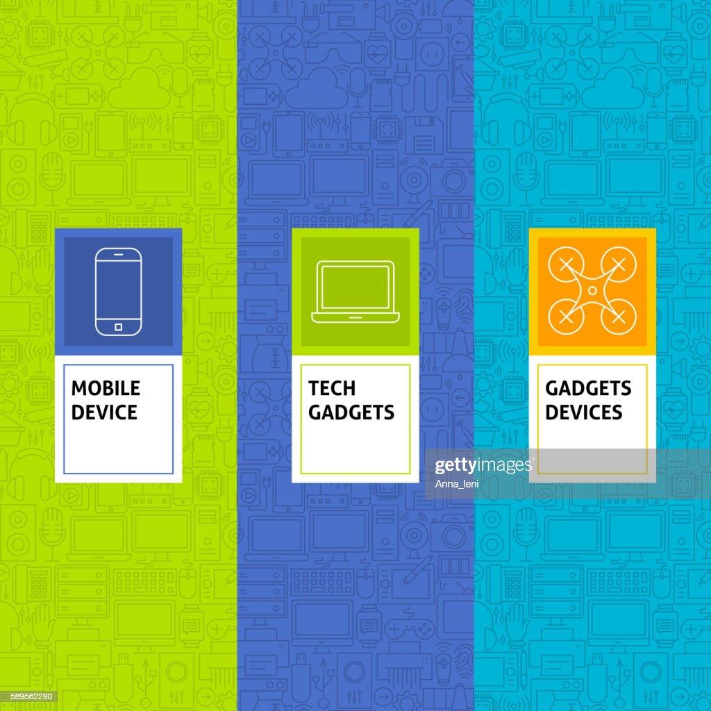 Line Gadgets Devices Patterns Set