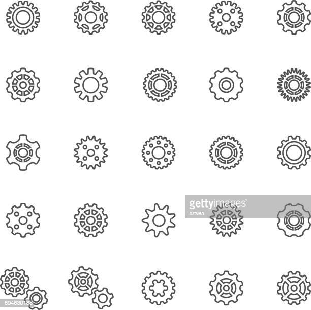 line gear icons - wheel stock illustrations, clip art, cartoons, & icons
