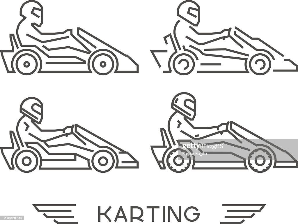 Line go kart symbol. Vector karting logo.