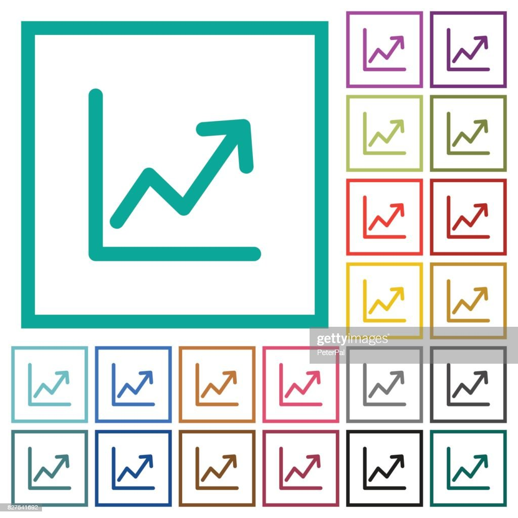 Line graph flat color icons with quadrant frames