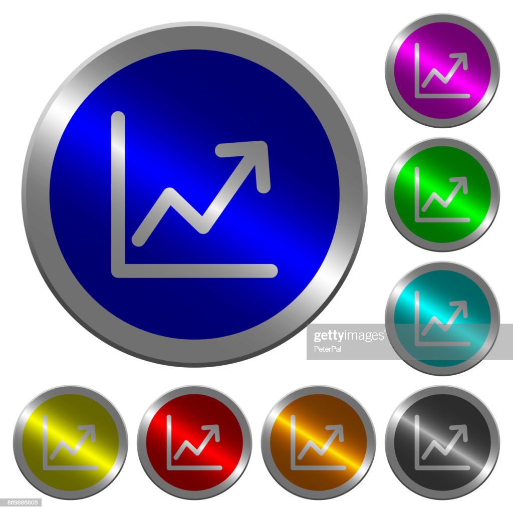 Line graph luminous coin-like round color buttons