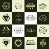 Line graphics monogram. Vintage Logos Design Templates Set. Business sign Letter emblem. Vector  elements idea, Icons Symbols, Retro Labels, Badges, Silhouettes. Vector illustration Collection