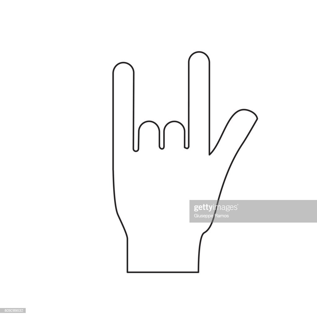 Line Hand With Rock Symbol And Musical Signals Vector Art Getty Images