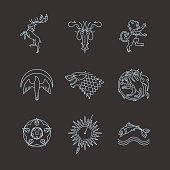 Line heraldic animals gaming thrones symbols
