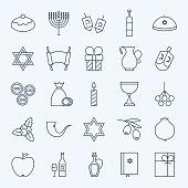 Line Holiday Happy Hanukkah Icons Set
