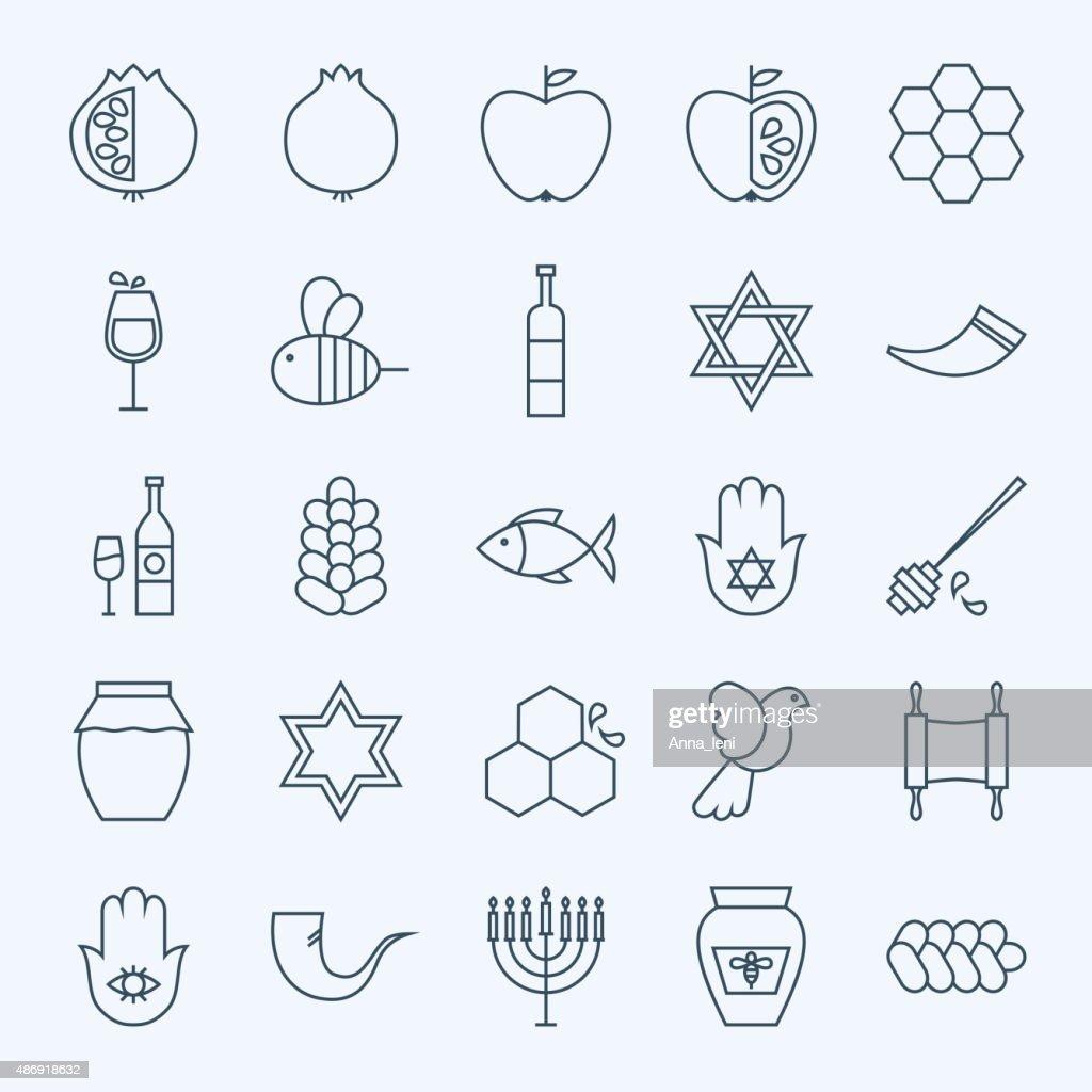 Line Holiday Rosh Hashanah Icons Set