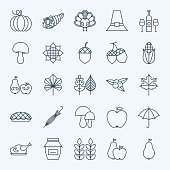 Line Holiday Thanksgiving Day Icons Set
