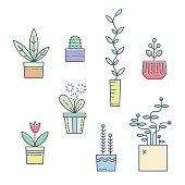 Line house plants icons