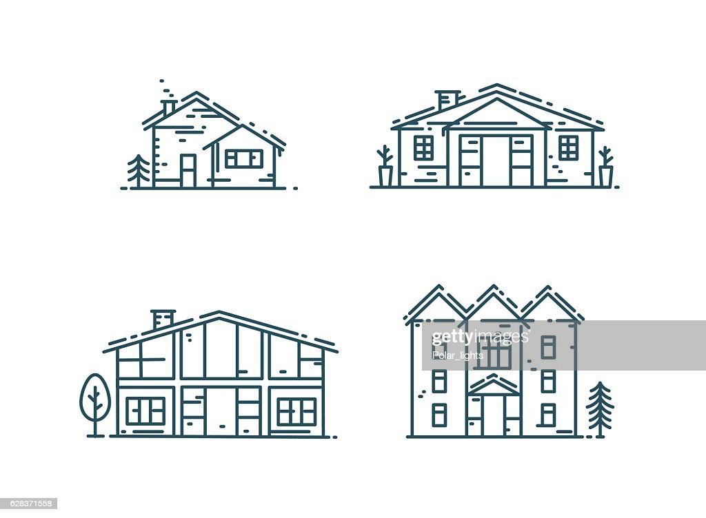 Line houses icon set.