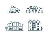 Line houses icon set.