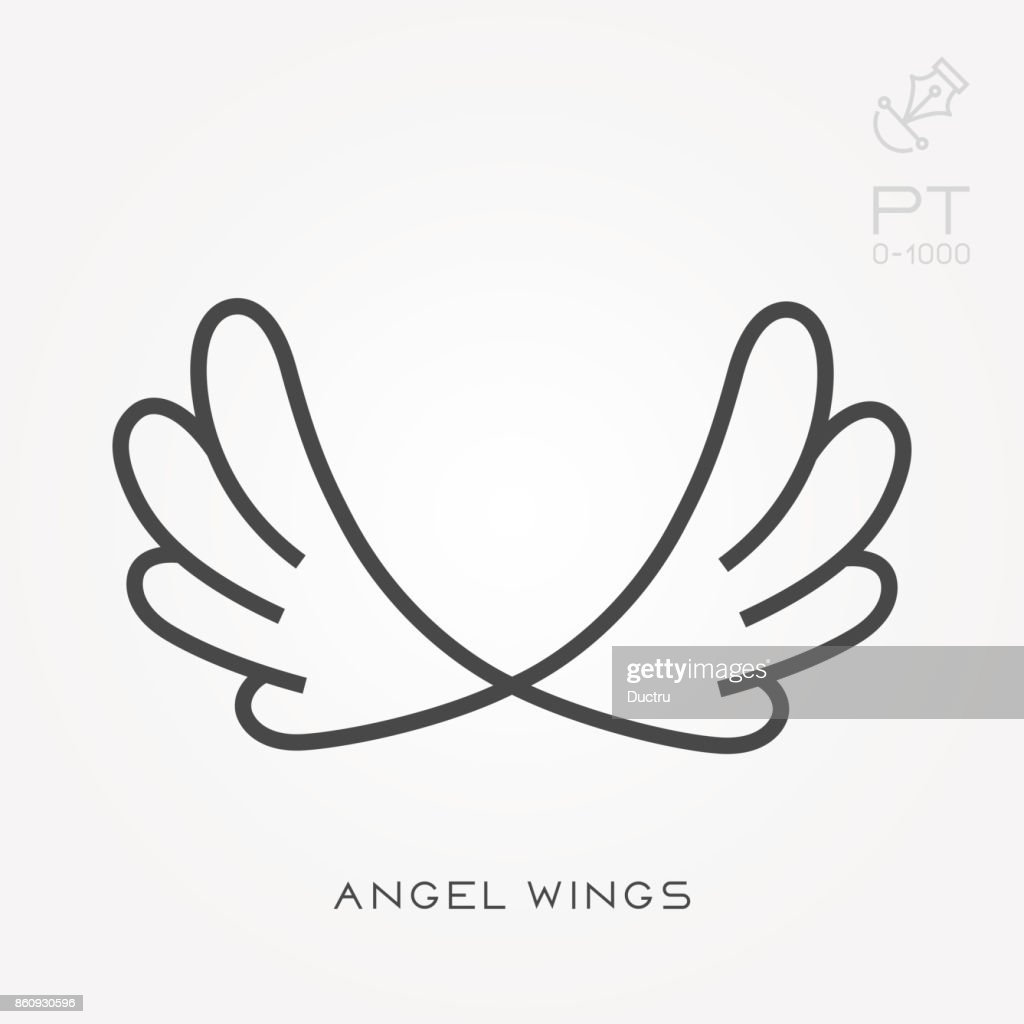 Line icon angel wings
