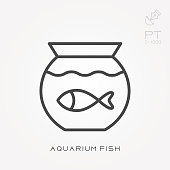 Line icon aquarium fish