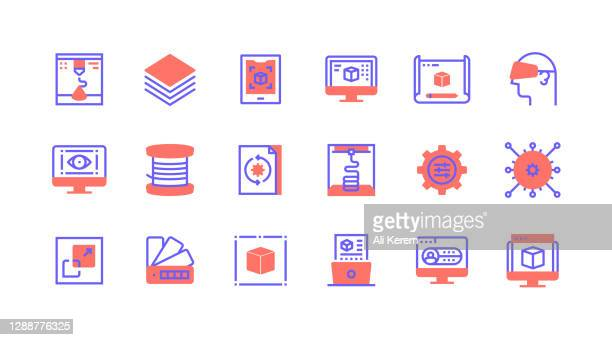 line icon concepts.  3d printer, layers, 3d scanner, 3d modeling, 3d programming icons. - pop up book stock illustrations