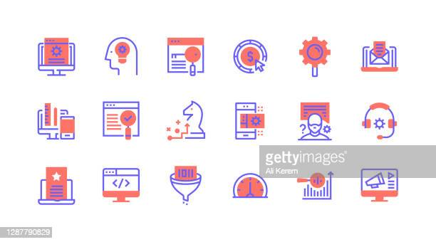 liniensymbolkonzepte. siehe, entwicklung, content management, strategie, benutzerdefinierte codierung symbole. - responsives webdesign stock-grafiken, -clipart, -cartoons und -symbole