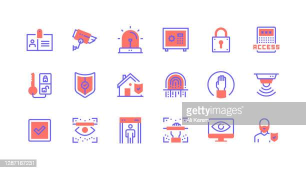 line icon concepts. surveillance, safe box, locked, alarm, protection icons. - eye scanner stock illustrations