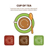 Line Icon Cup of tea. Top view.