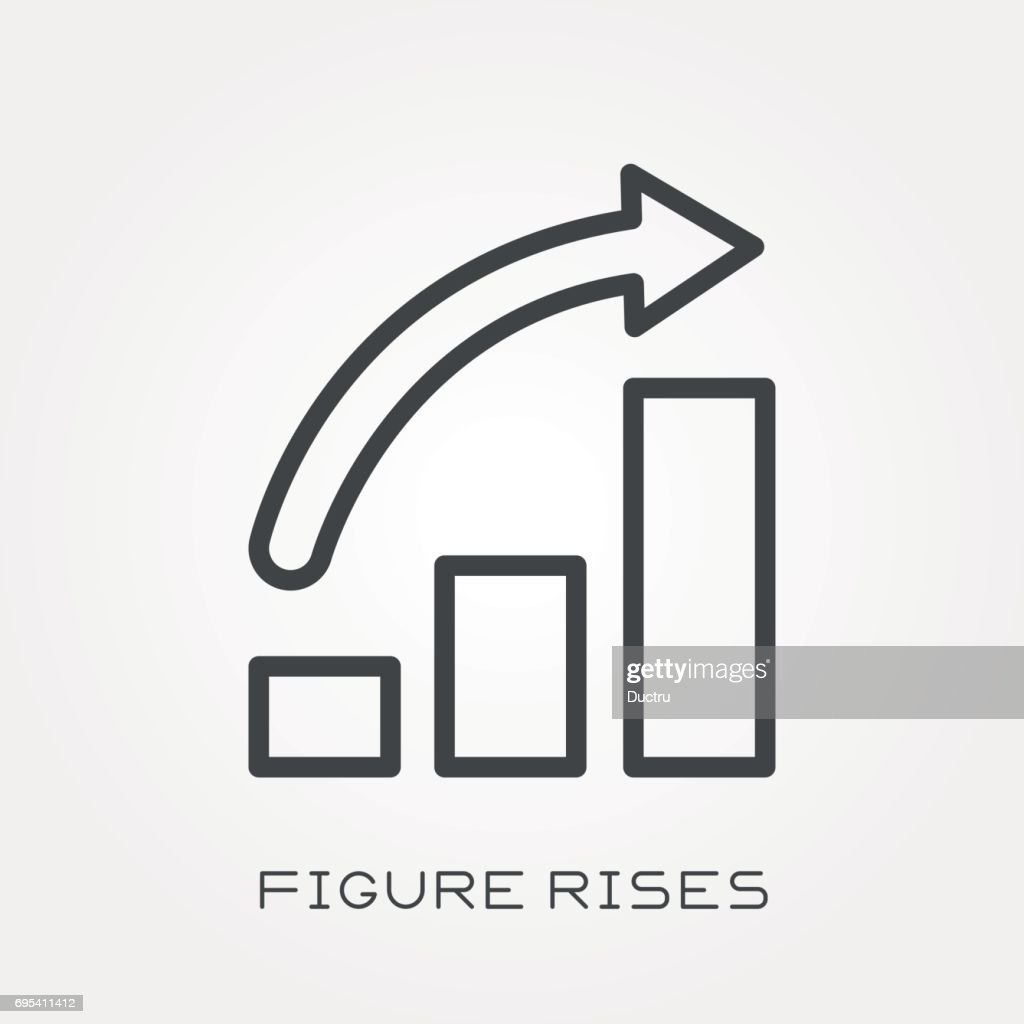 Line icon figure rises