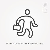 Line icon man runs with a suitcase