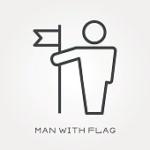 Line icon man with flag