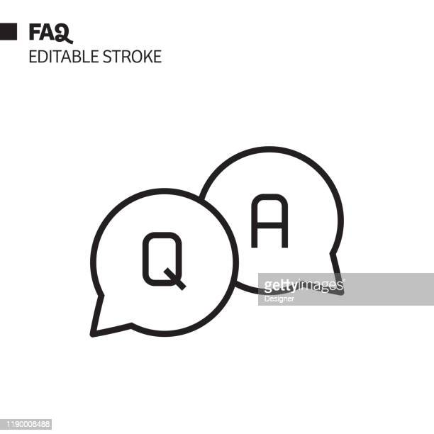 faq line icon, outline vector symbol illustration. pixel perfect, editable stroke. - q and a stock illustrations