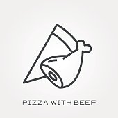 Line icon pizza with beef