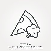 Line icon pizza with vegetables