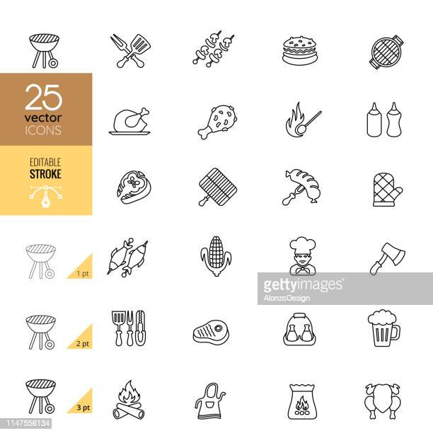 BBQ Line Icon Set. Editable Stroke.