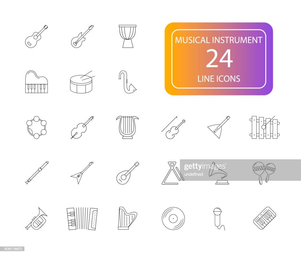 Line icon set. Musical Instrument pack.