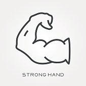 Line icon strong hand