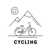 Line icon with summer holiday activity concept. Landscapes with mountains, sun and bicycle. Vector illustration