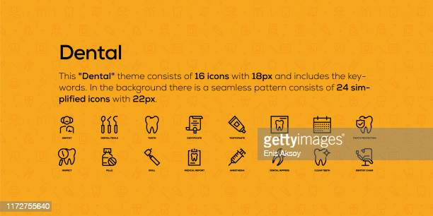 line icons about dental topic. in the background there is a seamless pattern with simplified icons. - molar stock illustrations