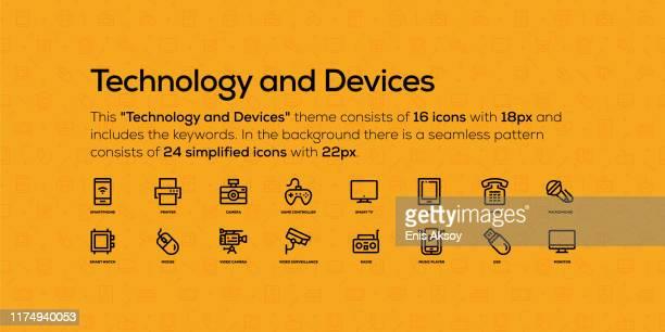 ilustrações, clipart, desenhos animados e ícones de ícones de linha sobre tecnologia e dispositivos tópico. no fundo há um teste padrão sem emenda com ícones simplificados. - loja de produtos eletrônicos