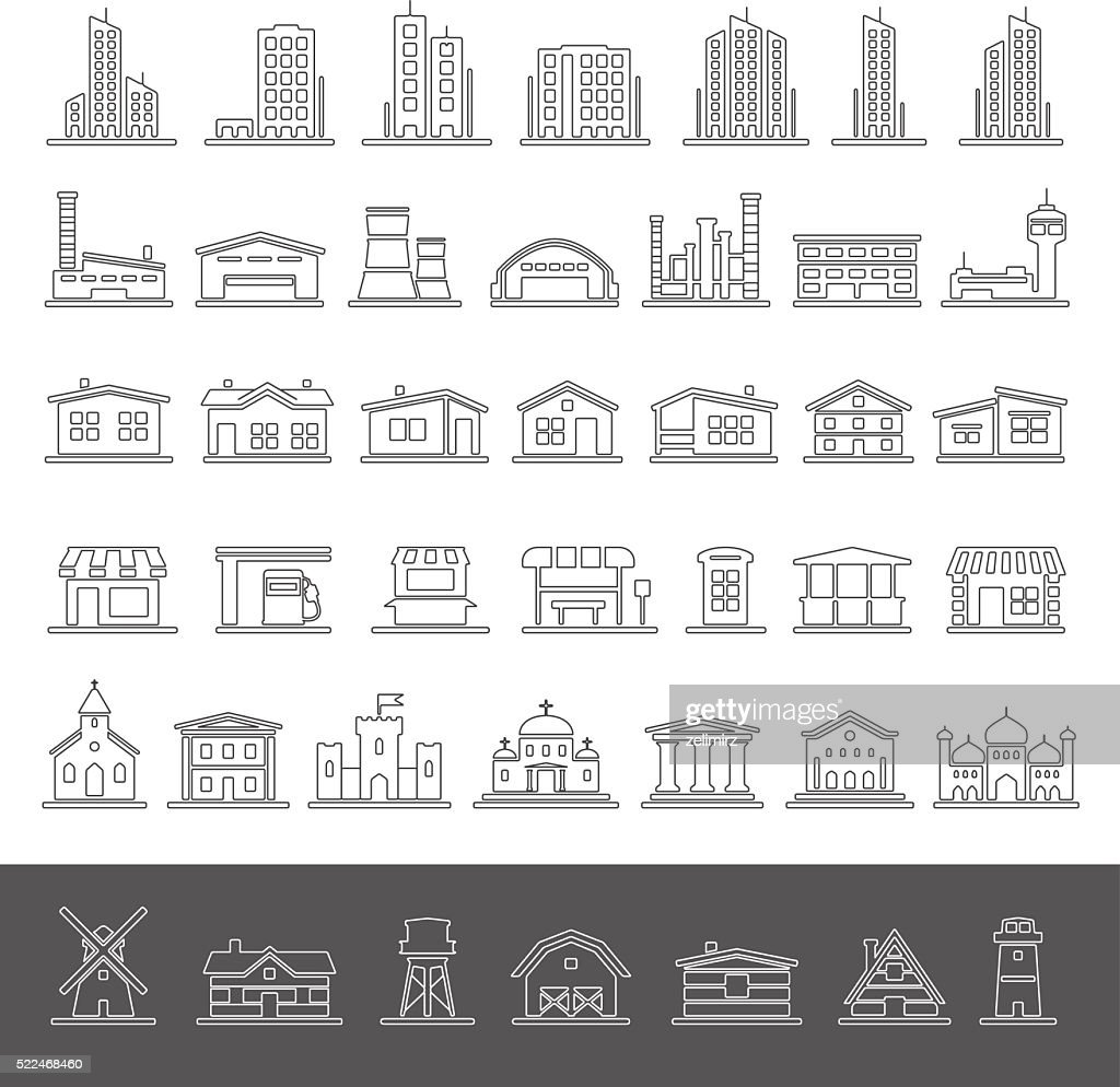 Line Icons - Buildings