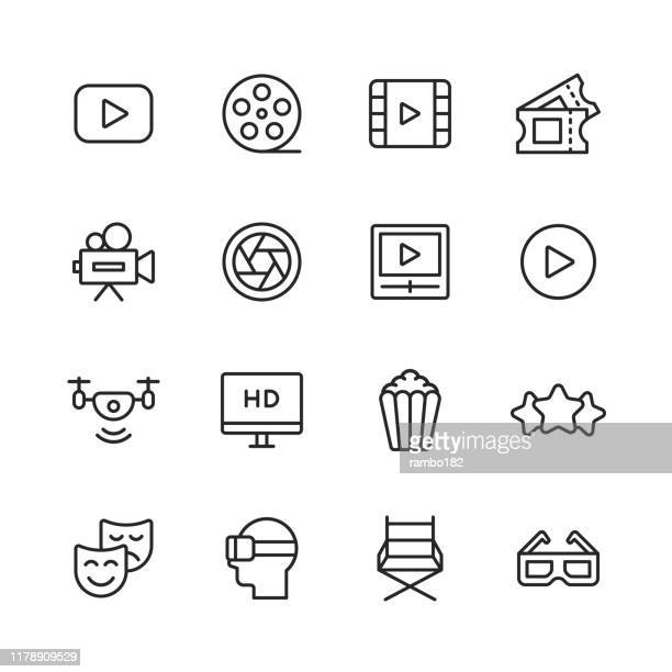 --- line icons. editable stroke. pixel perfect. for mobile and web. contains such icons as ---. - film industry stock illustrations