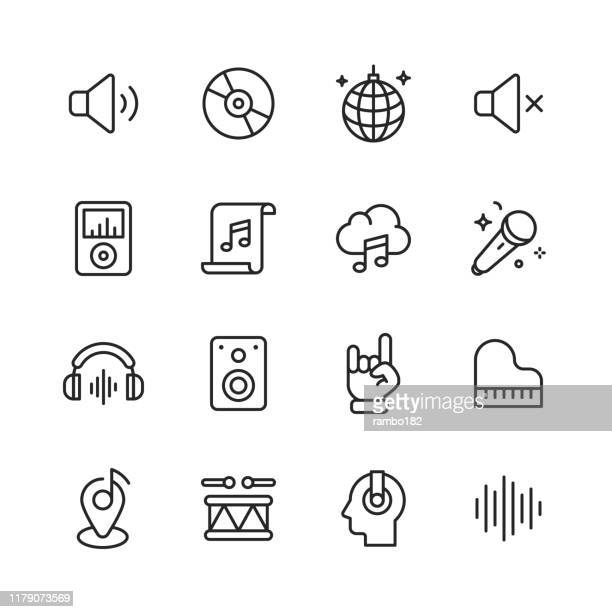 --- line icons. editable stroke. pixel perfect. for mobile and web. contains such icons as ---. - music stock illustrations