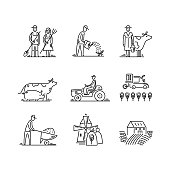 Line icons farming and agriculture Agronomy symbols, people, animals, farm field, agricultural equipment, tractor transport