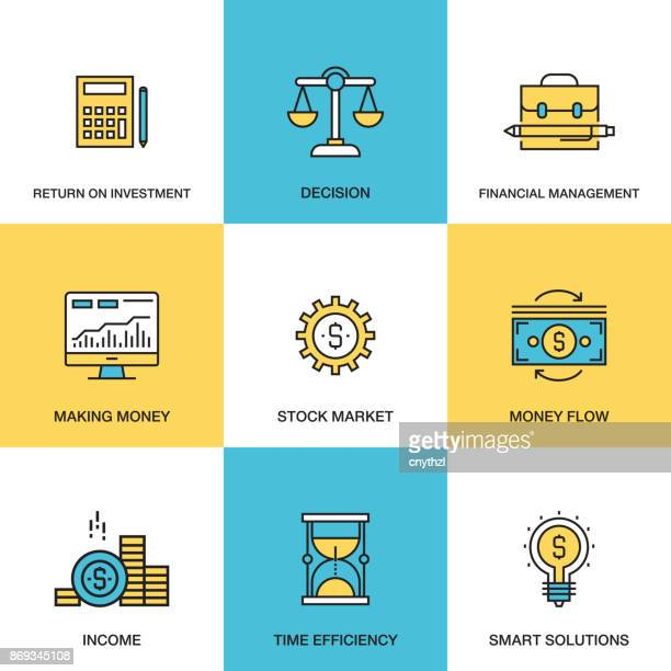 Line icons of Analytics and Investment Concept - ROI - Money Flow - Financial Management