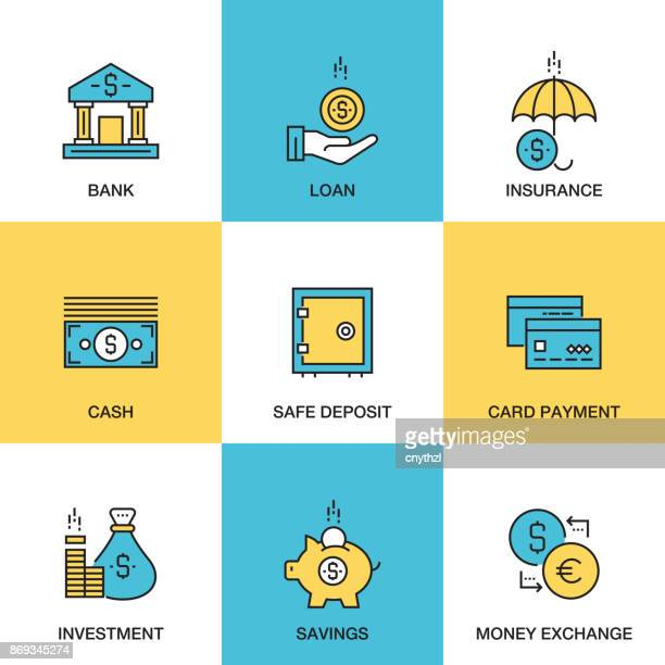 Line icons of Banking and Money Concept - Investment - Insurance - Bank - Loan