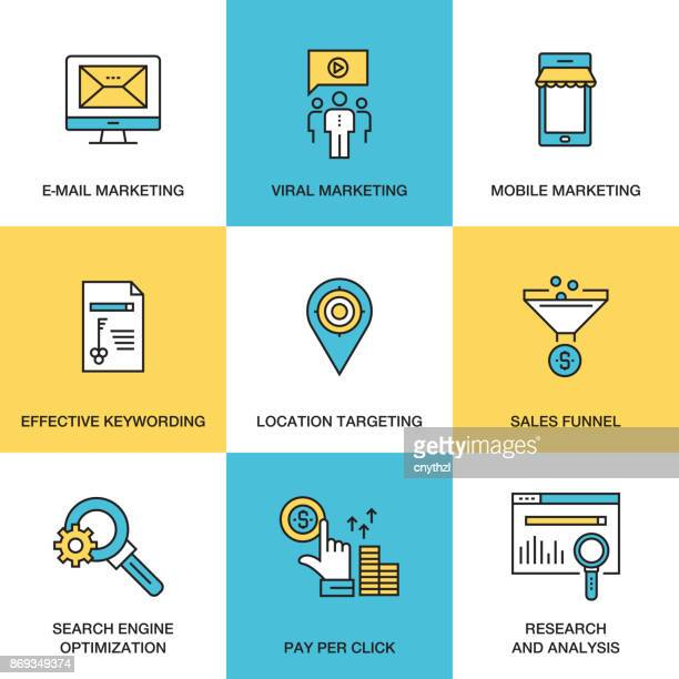 line icons of digital marketing concept - flat line style - political campaign stock illustrations, clip art, cartoons, & icons
