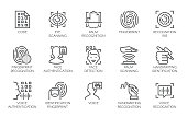 Line icons of identity biometric verification. 15 label of authentication technology in mobile phones and other devices