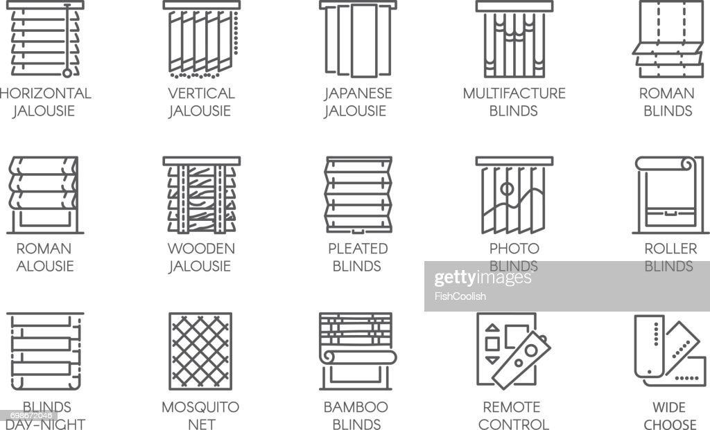 15 line icons of various designs of curtains, blinds, jalousie, mosquito nets and remote control. Vector labels isolated
