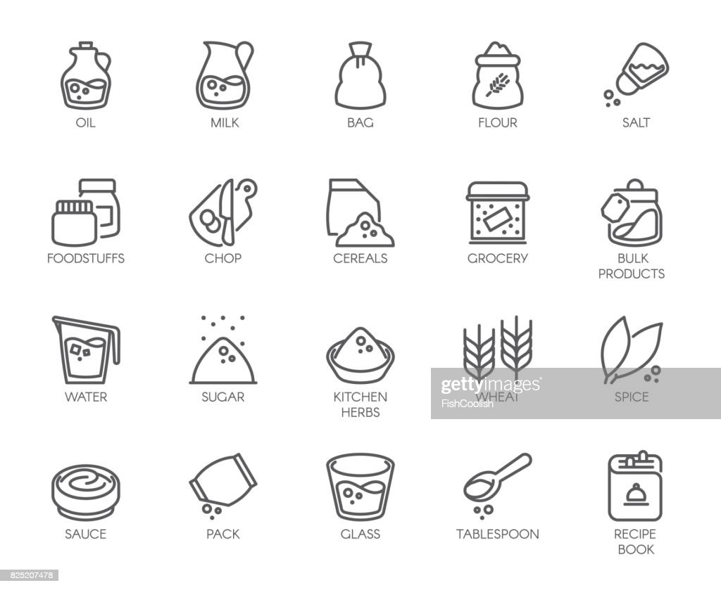 20 line icons on cookery theme. Outline icon isolated on white background. Editable Stroke. 48x48 Pixel Perfect