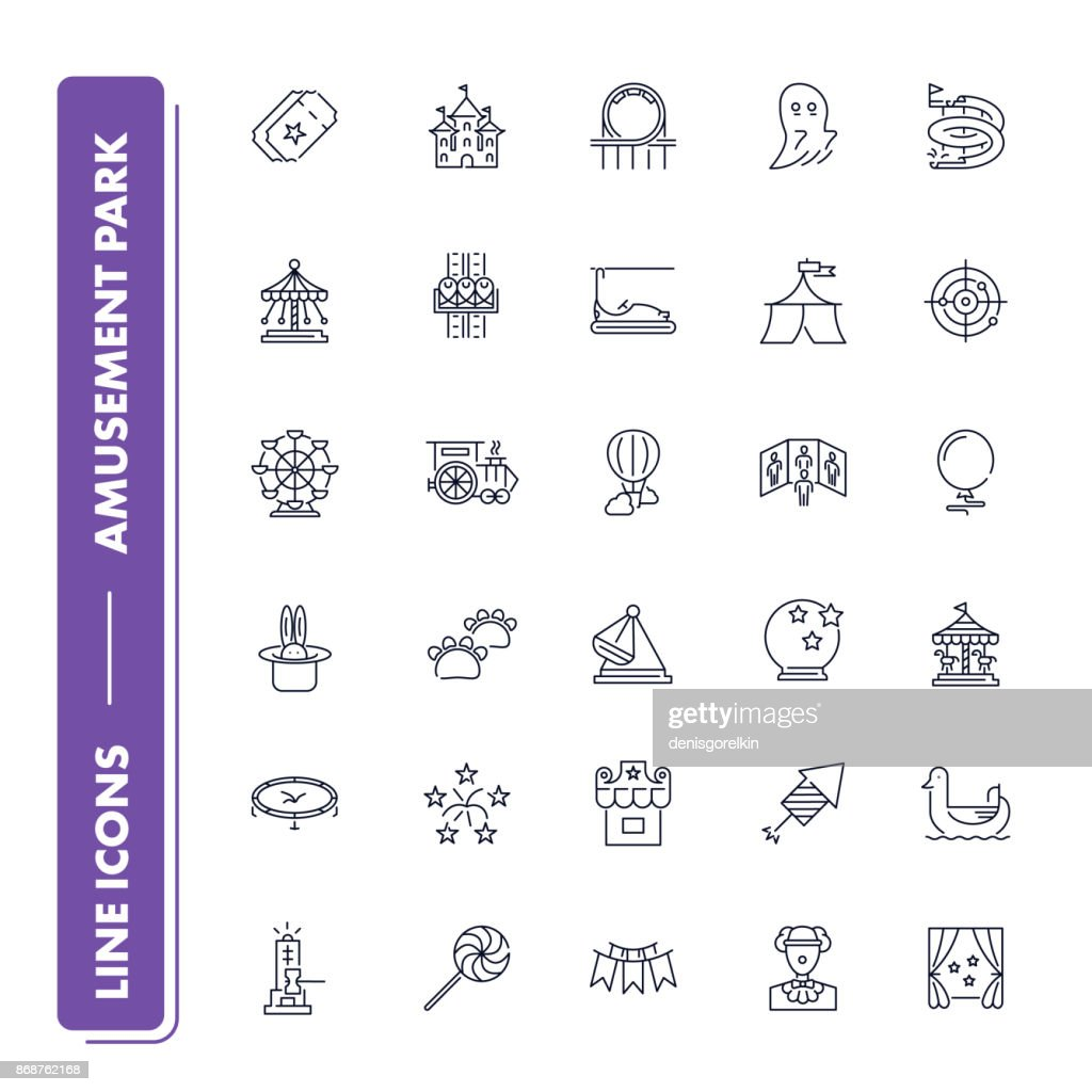 Line icons set. Amusement park pack.