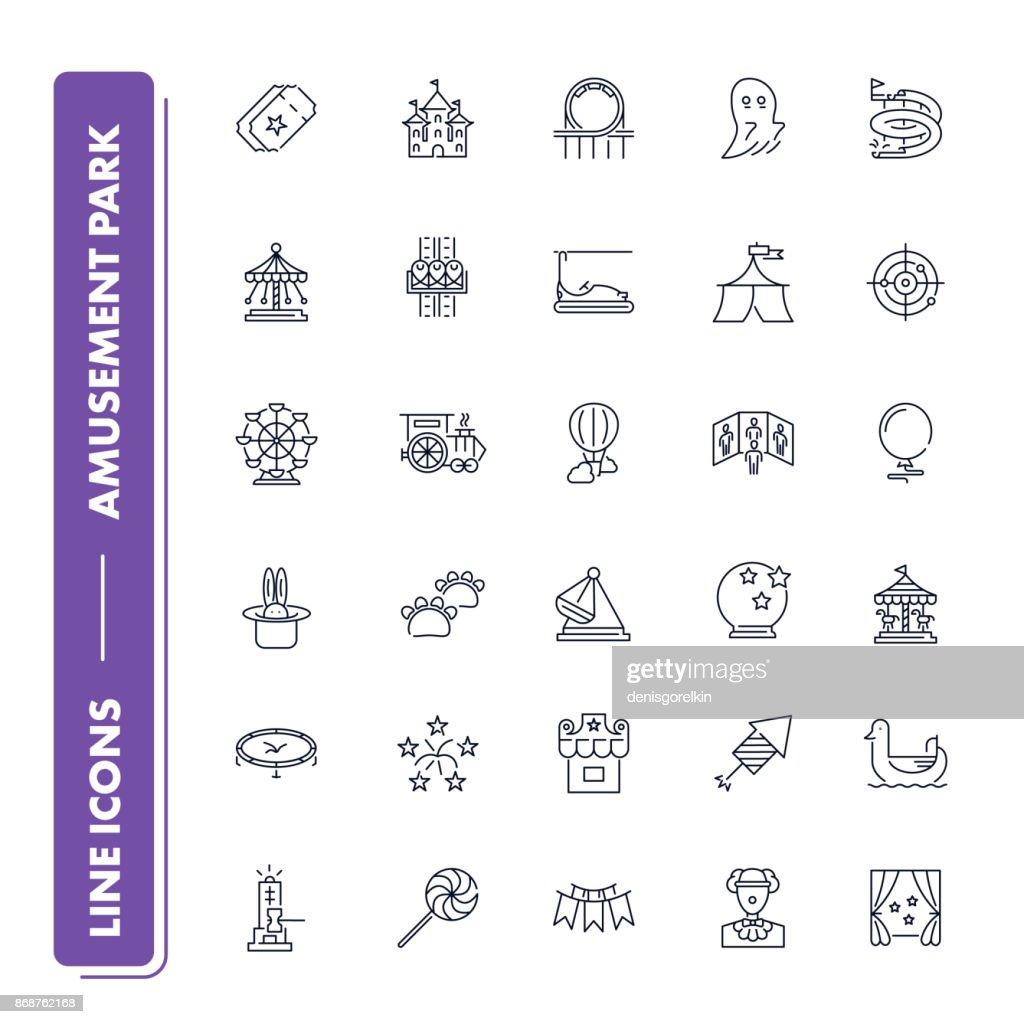 Line icons set. Amusement park pack.