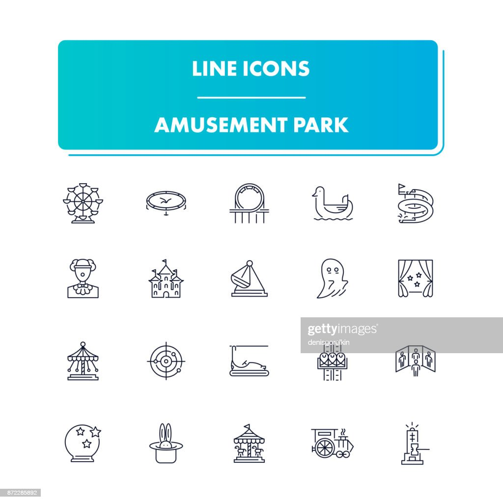 Line icons set. Amusement Park