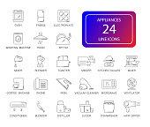 Line icons set. Appliances pack.