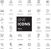 Line icons set. Banking