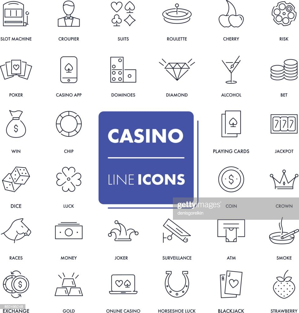 Line icons set. Casino