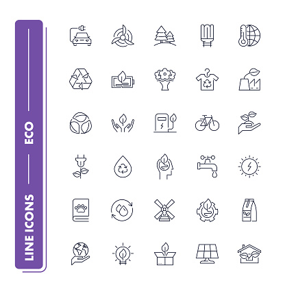 Set of 30 line icons